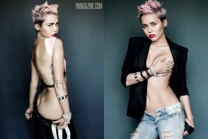 Hitting Dangerously Low : Miley Cyrus in 'V' shoot
